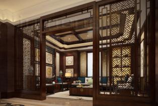 新中式风格特点之空间层次。新中式风格非常讲究空间的层次感与跳跃感。在需要隔绝视线的地方,则使用中式的屏风、窗棂、中式木门、工艺隔断..