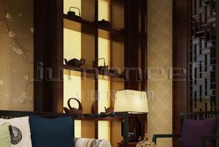 新中式风格装修:散发出迷人的东方魅力。新中式风格是比较自由的,国画、书画及明清家具青花瓷、紫砂茶壶等工艺品是构成新中式风格的最主要元..